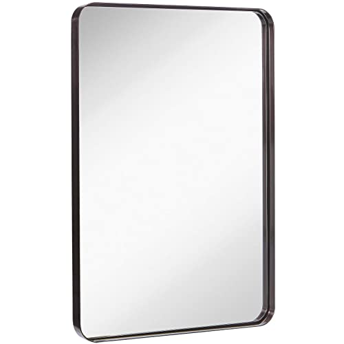 Buy Hamilton Hills Contemporary Brushed Metal Wall Mirror Glass Panel Black Framed Rounded Corner Deep Set Design Mirrored Rectangle Hangs Horizontal Or Vertical 24 X 36 Online In Cameroon B082j4b4q4