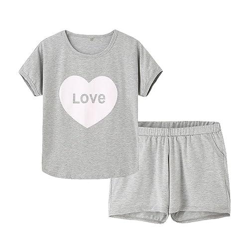 Hupohoi Big Girls Summer Cute Pajama Sets Striped Hearts Shape Printed Sleepwear