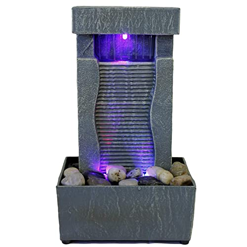 Natures Mark 8 H Boy and Dog Rainy Day LED Fountain with Adaptor