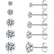 Stud Earrings Set for Girls Women Silver Gold Crystal Pearl CZ Assorted Boho Piercing Assorted Bead Charms Multiple Vintage Earring Valentine Birthday Christmas Gifts