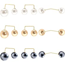 2pcs Crystal Pearl Safety Pin Brooch For Suit Scarf Corsage Sweater Collar